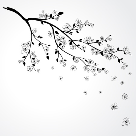 Illustration of flowering branch of Sakura with flying petals  Vector