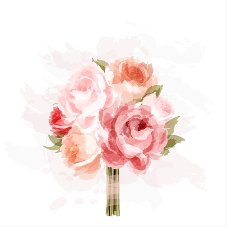 watercolor flower: Romantic background with bouquet of peonies  All elements are separate