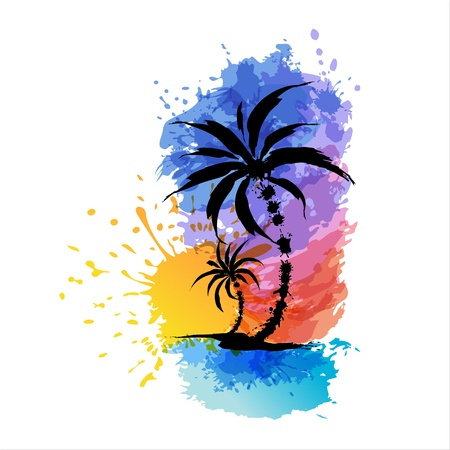 coconut palm: Tropical background with palms  Sunset Illustration