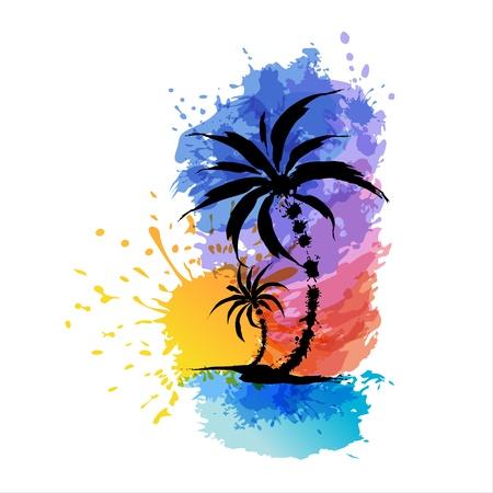Tropical tła z palmami Zachód
