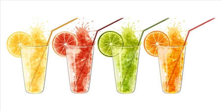 citric: Fresh juice from citrus fruits in a glass isolated on white background  EPS10 Illustration