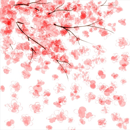 plums: Background with blooming Japanese cherry tree  EPS10