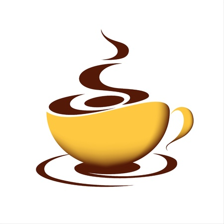 Taza de café caliente sobre fondo blanco Vectores