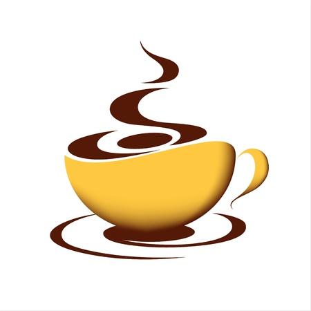 pausa: Taza de caf� caliente sobre fondo blanco Vectores