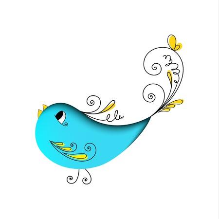 pajaro azul: Ave preciosa de color azul con elementos florales sobre fondo blanco