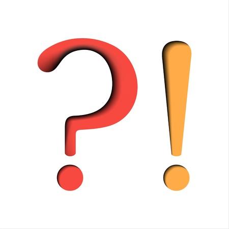 exclamation mark: Preguntas y signos de exclamación sobre fondo blanco