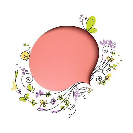 Pink speech bubble with floral elements on white background