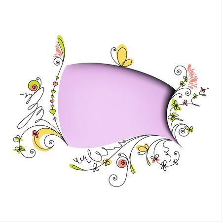 Color speech bubble with floral elements on white background Vector