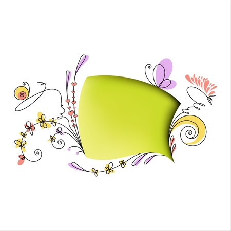 Speech bubble with floral elements on white background
