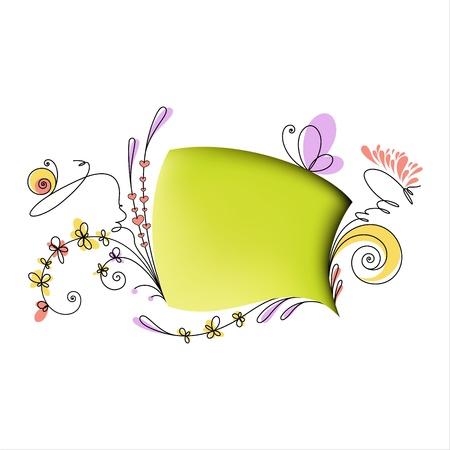 Sprechblase mit floralen Elementen auf weißem Hintergrund Standard-Bild - 12995983