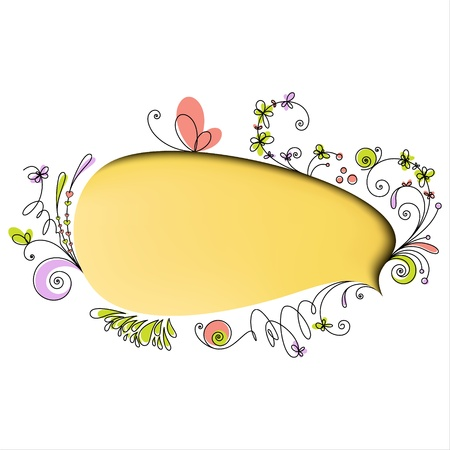 talk bubble: Yellow speech bubble with floral elements on white background