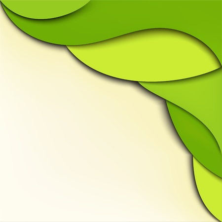 Green abstract wavy background with place for text Vector