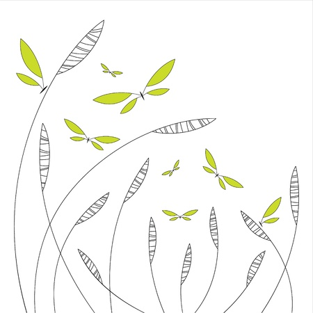 Abstract floral design with green butterflies