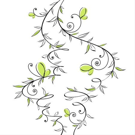 linework: Romantic gentle floral design with butterflies