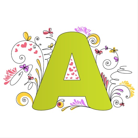 write letter: Illustration of colorful floral alphabet  Letter A