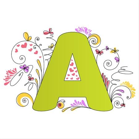write abc: Ilustraci�n de la Carta de colorido alfabeto floral A Vectores