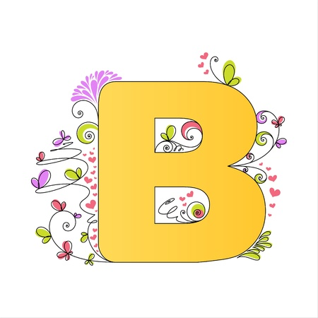 Illustration of colorful floral alphabet  Letter B Stock Vector - 13448293