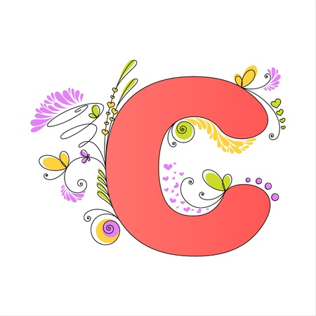 Illustration of colorful floral alphabet  Letter C Vector