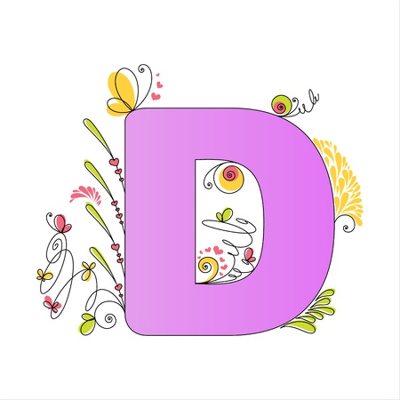 Illustration of colorful floral alphabet  Letter D Stock Vector - 13448289