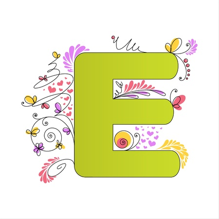 Illustration of colorful floral alphabet  Letter E Vector