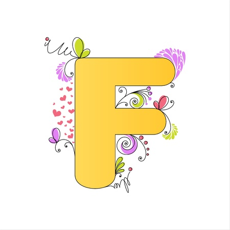 Illustration of colorful floral alphabet  Letter F Stock Vector - 13448285