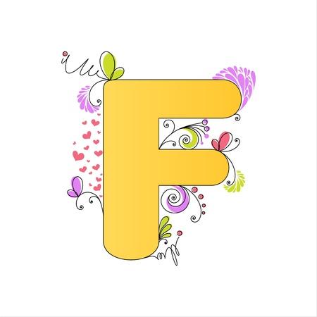 Illustration of colorful floral alphabet  Letter F Vector
