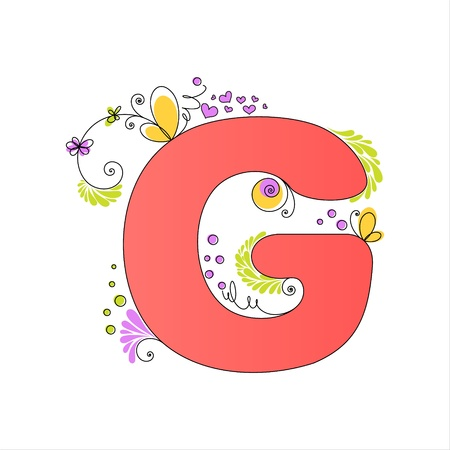 Illustration of colorful floral alphabet  Letter G Stock Vector - 13448283