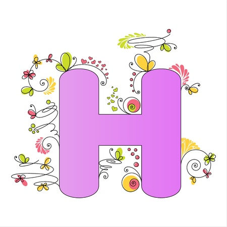 Illustration of colorful floral alphabet  Letter H Stock Vector - 13448325
