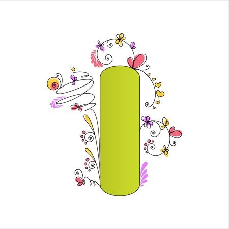 Illustration of colorful floral alphabet  Letter I