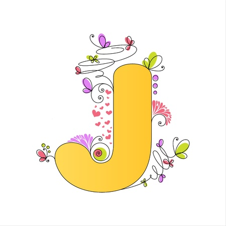Illustration of colorful floral alphabet  Letter J Stock Vector - 13448279