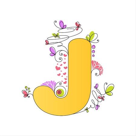 Illustration of colorful floral alphabet  Letter J Vector