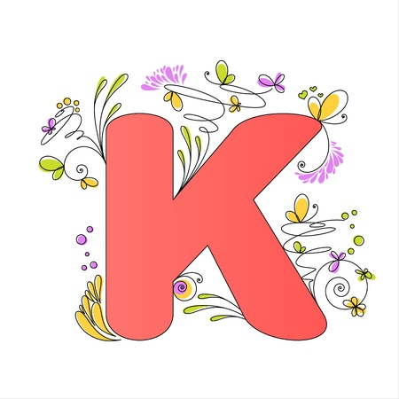 Illustration of colorful floral alphabet  Letter K Vector