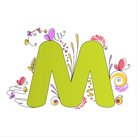 Illustration of colorful floral alphabet  Letter M