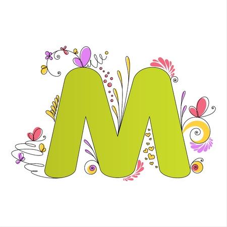 alfabeto con animales: Ilustración de colorido floral M letra del alfabeto Vectores