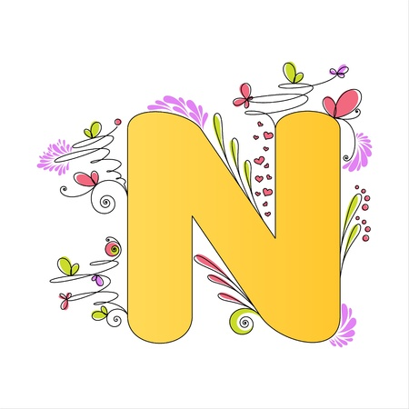 letter n: Illustration of colorful floral alphabet  Letter N Illustration