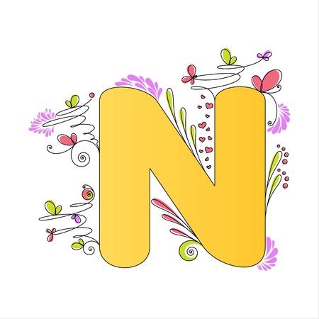 Illustration of colorful floral alphabet  Letter N Stock Vector - 13448296