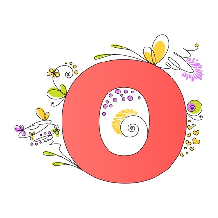 Illustration of colorful floral alphabet  Letter O Vector