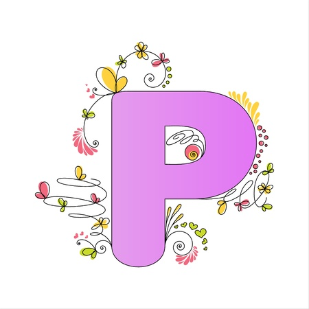 Illustration of colorful floral alphabet  Letter P Vector