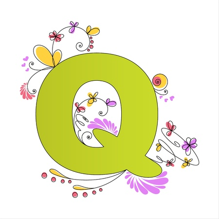 Illustration of colorful floral alphabet  Letter Q Vector