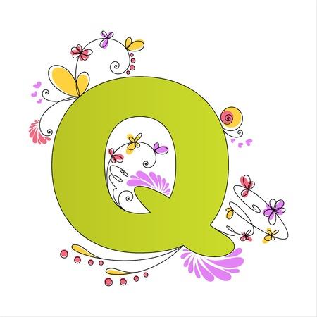 Illustration of colorful floral alphabet  Letter Q Vector