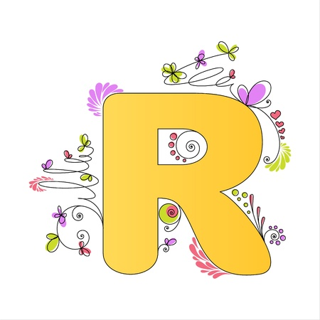 Illustration of colorful floral alphabet  Letter R Stock Vector - 13448295
