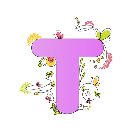 Illustration of colorful floral alphabet  Letter T Stock Vector - 13448290