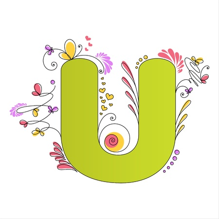 Illustration of colorful floral alphabet  Letter U Vector