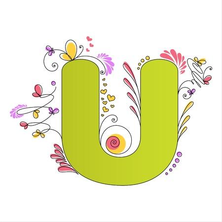 Illustration of colorful floral alphabet  Letter U Vector