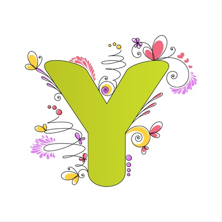 Illustration of colorful floral alphabet  Letter Y Vector