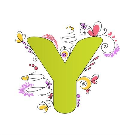 floral alphabet: Illustration of colorful floral alphabet  Letter Y