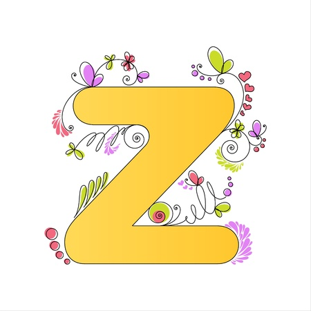 Illustration of colorful floral alphabet  Letter Z Stock Vector - 13448294
