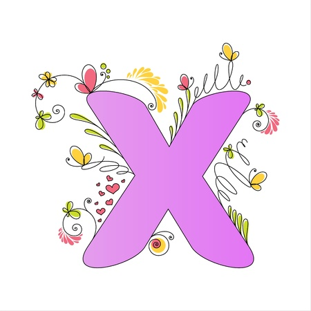 Illustration of colorful floral alphabet. Letter X Stock Vector - 13448329