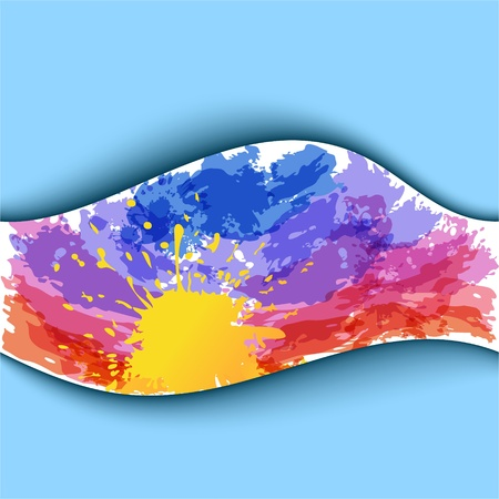 Summer watercolor background  Sunset  EPS10 Vector
