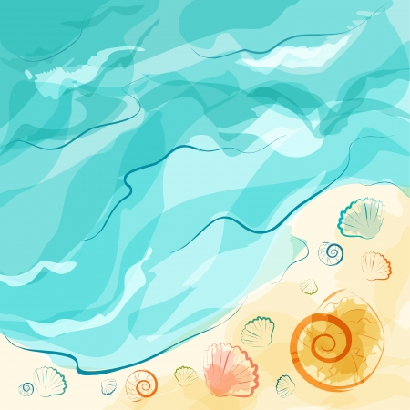 Sea beach with shells for summer design  EPS10